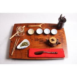 Tavolino da Tè in Bamboo pressato con inserto in Pietra