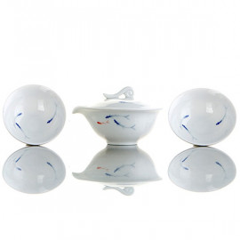 """Minnows""- 4 Teacups and a Teapot Set"